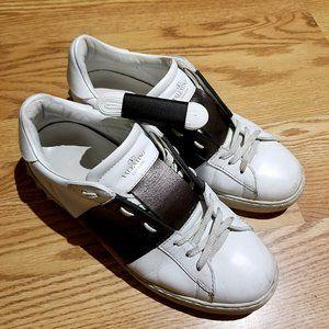 Valentino Metallic Striped Leather Sneakers